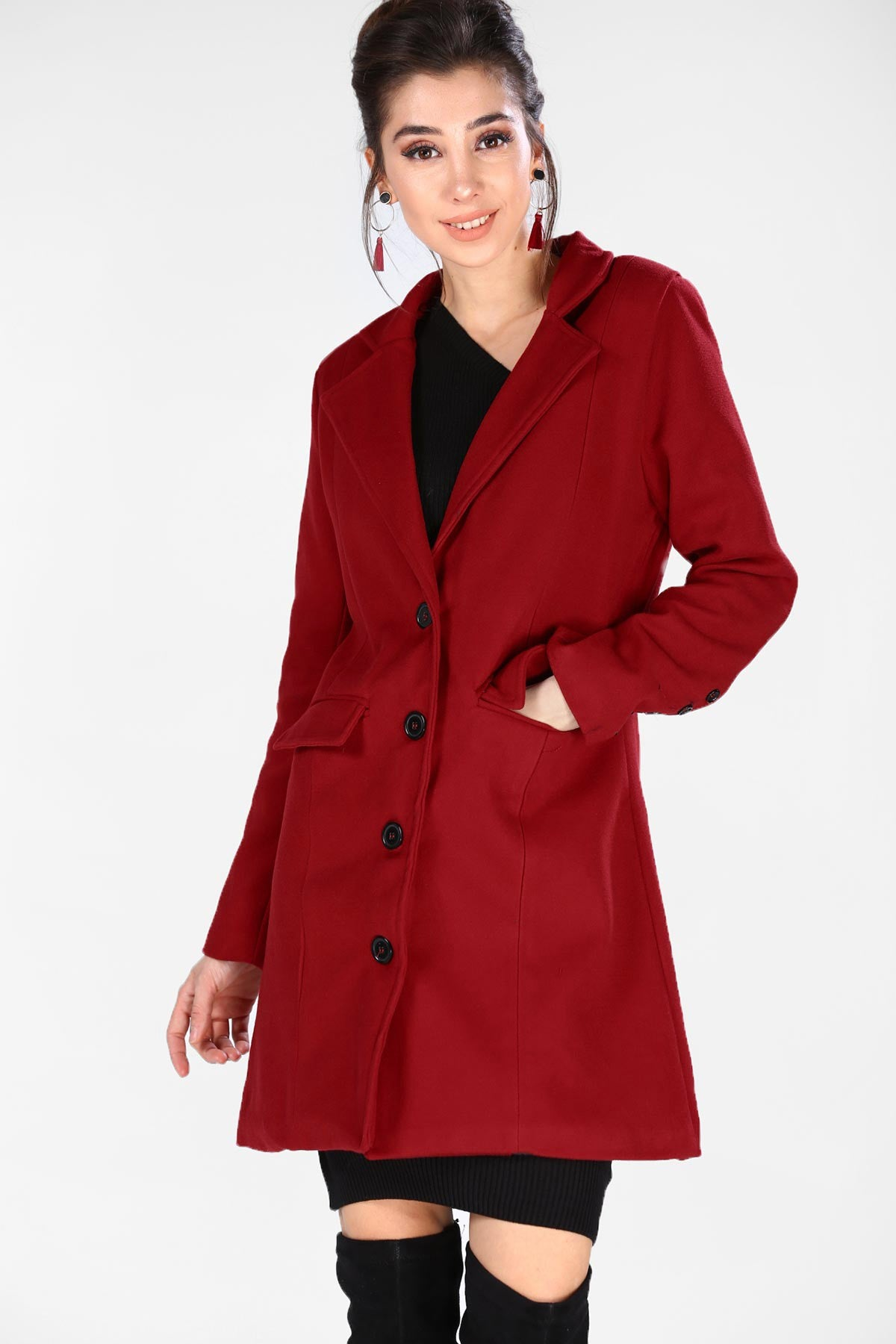 Women's Shawl Neck Dark Red Cachet Coat - THE UNIQUE FIT