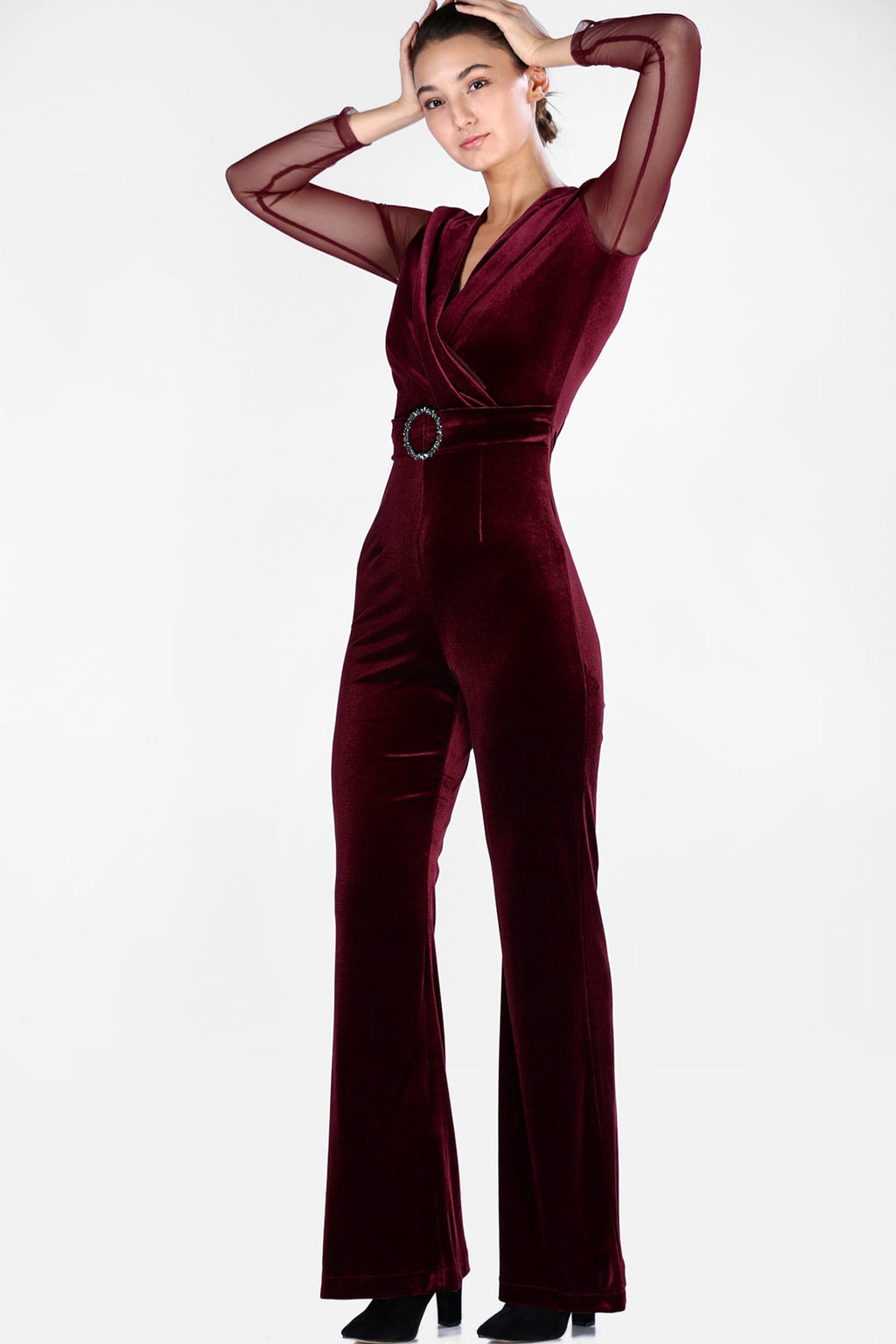 Women's Front Wrap Velvet Red Overalls (Contest) - THE UNIQUE FIT