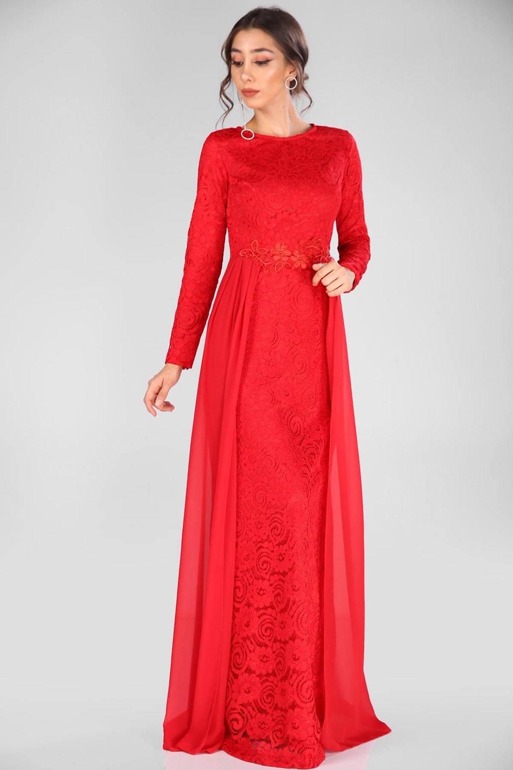Lace Embroidered Red Evening Dress - THE UNIQUE FIT