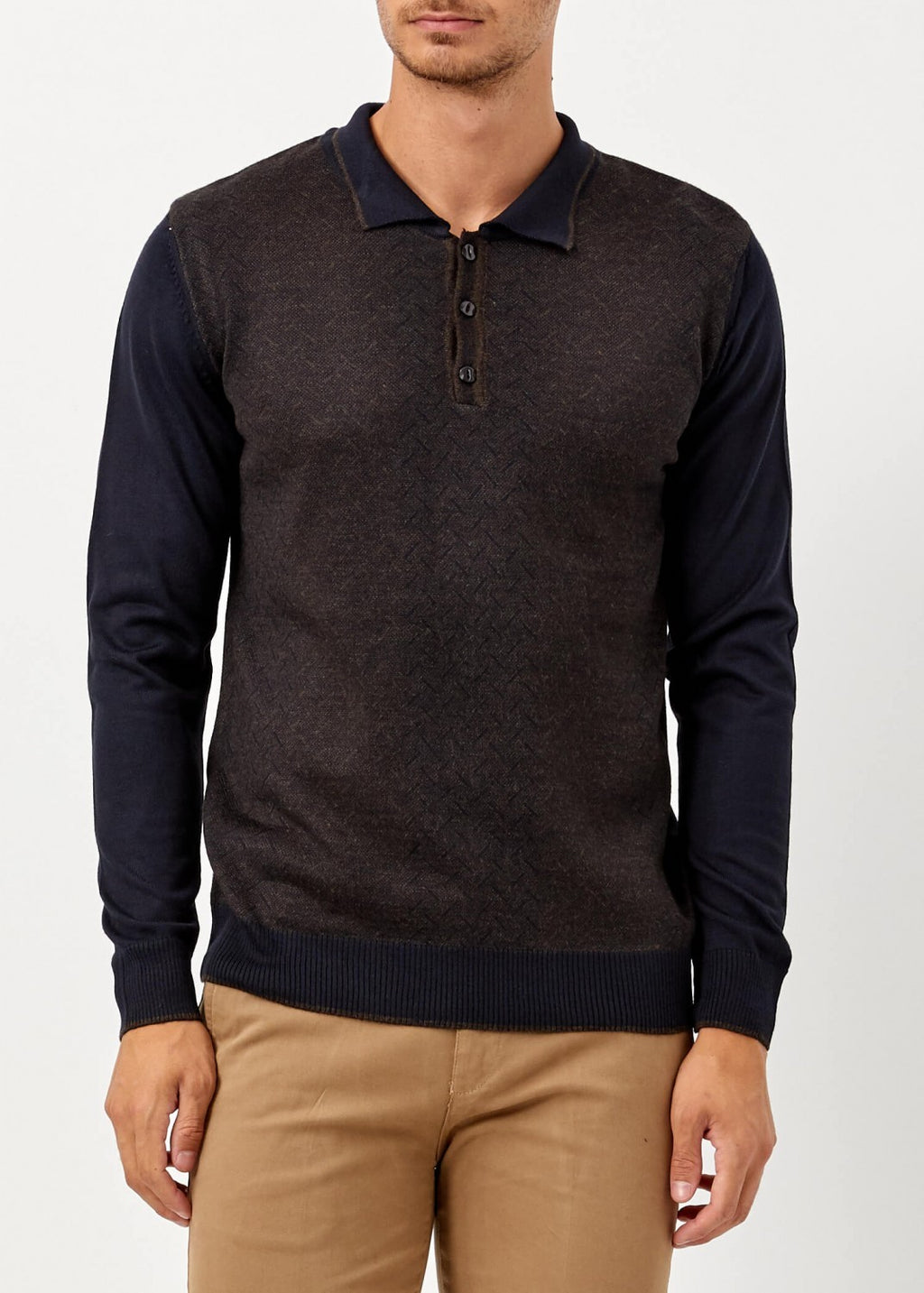 Men's Polo Neck Navy Blue Brown Wool Pullover