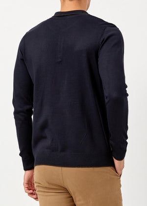 Men's Polo Neck Navy Blue Brown Wool Pullover - THE UNIQUE FIT