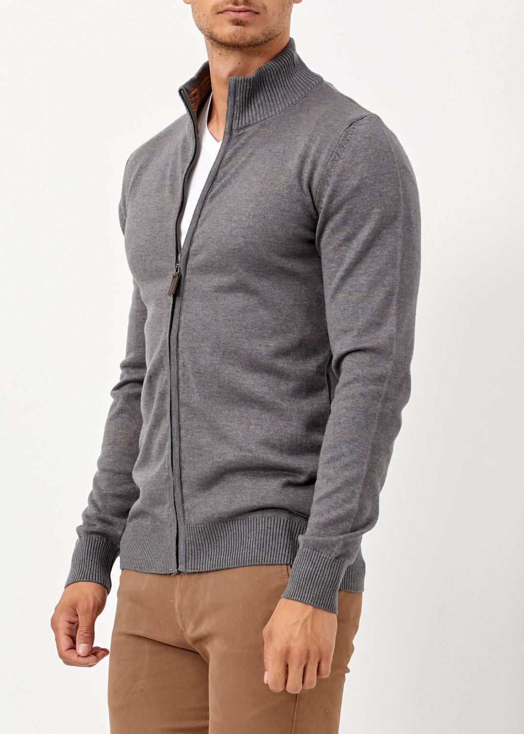 Men's Zipped Dark Grey Winter Cardigan - THE UNIQUE FIT