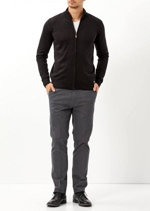 Men's Black Basic Tricot Cardigan - THE UNIQUE FIT