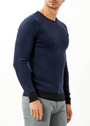Men's Navy Blue Merino Basic Sweater - THE UNIQUE FIT