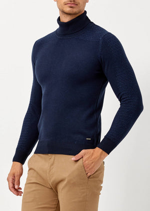 Men's Turtleneck Navy Blue Pullover - THE UNIQUE FIT