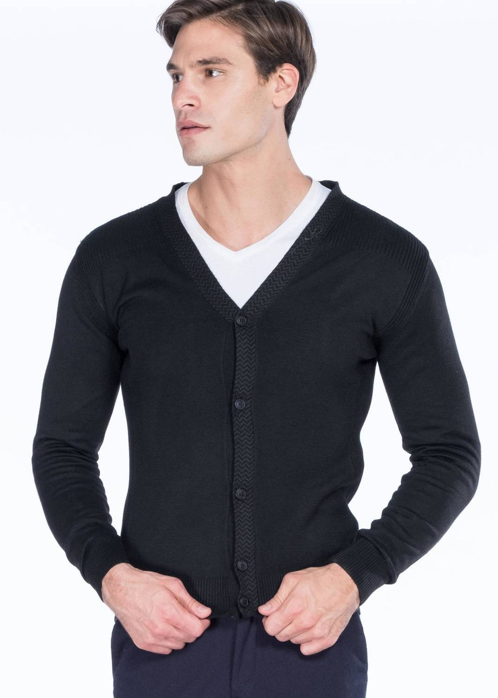 Men's V Neck Buttoned Black Black Cardigan
