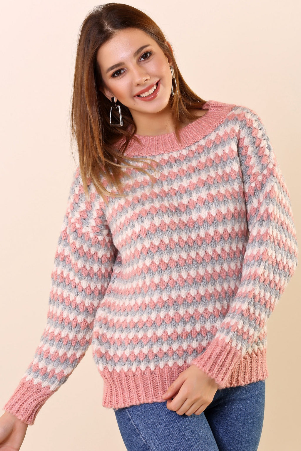 Crew Neck Patterned Pink Tricot Pullover - THE UNIQUE FIT