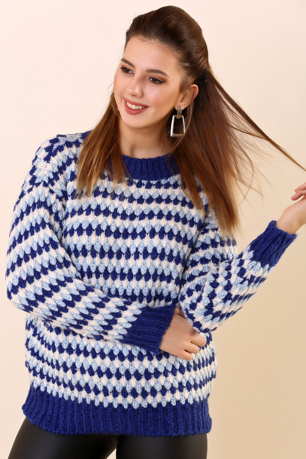 Crew Neck Patterned Tricot Pullover - THE UNIQUE FIT