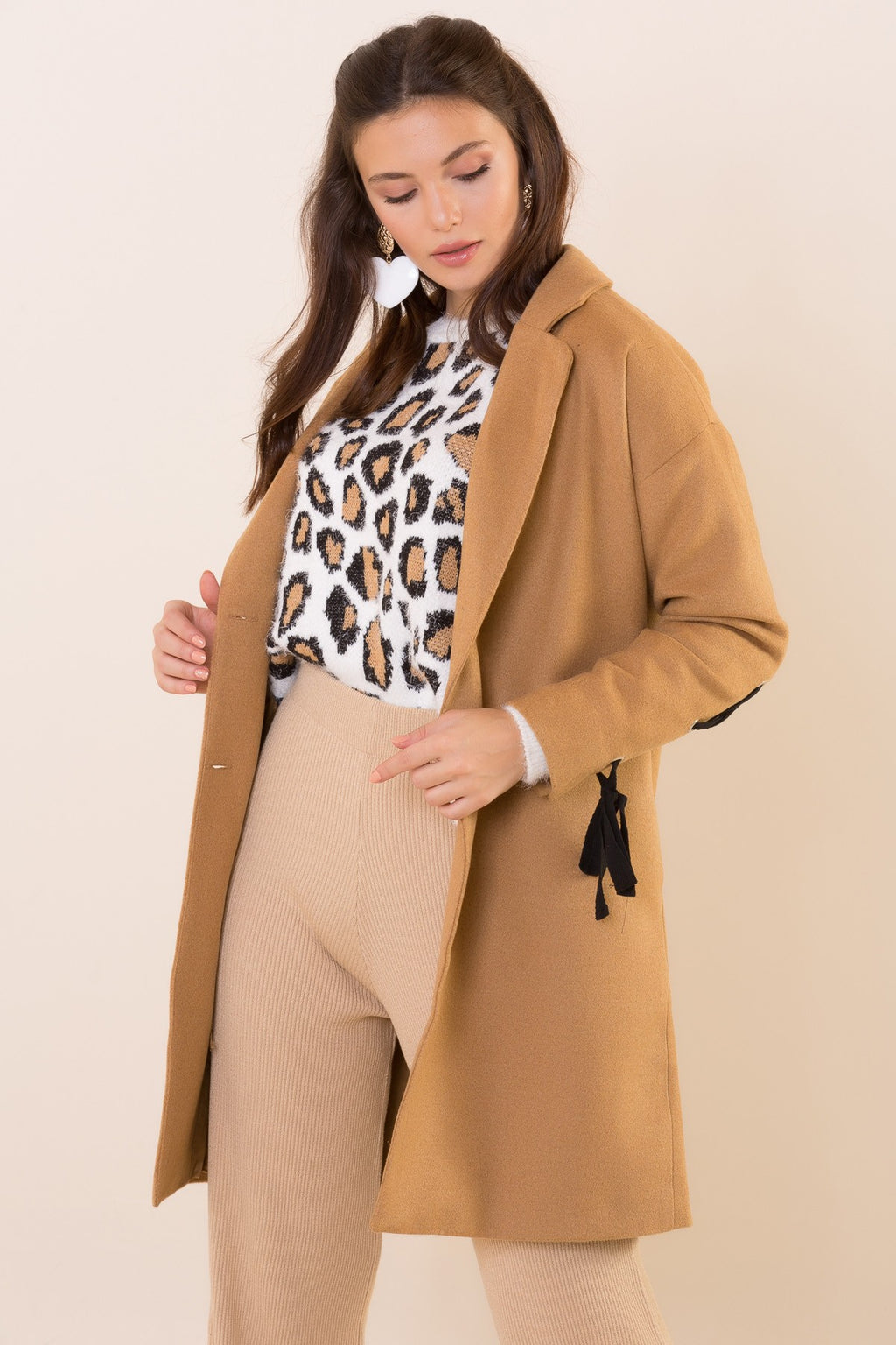 Jacket Collar Lace-up Brown Coat