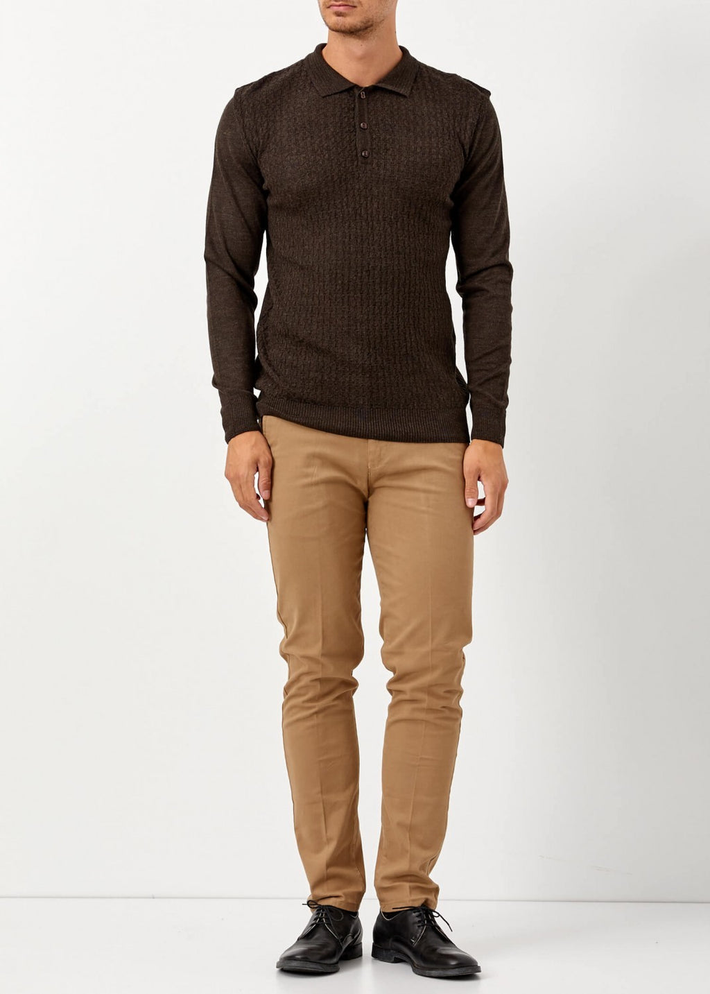 Men's Polo Neck Brown Wool Pullover