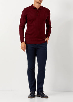 Men's Polo Neck Red Wool Pullover