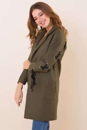 Jacket Collar Lace-up Khaki Coat