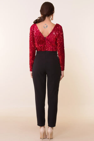 Women's Back Detail Red Sequined Overalls - THE UNIQUE FIT