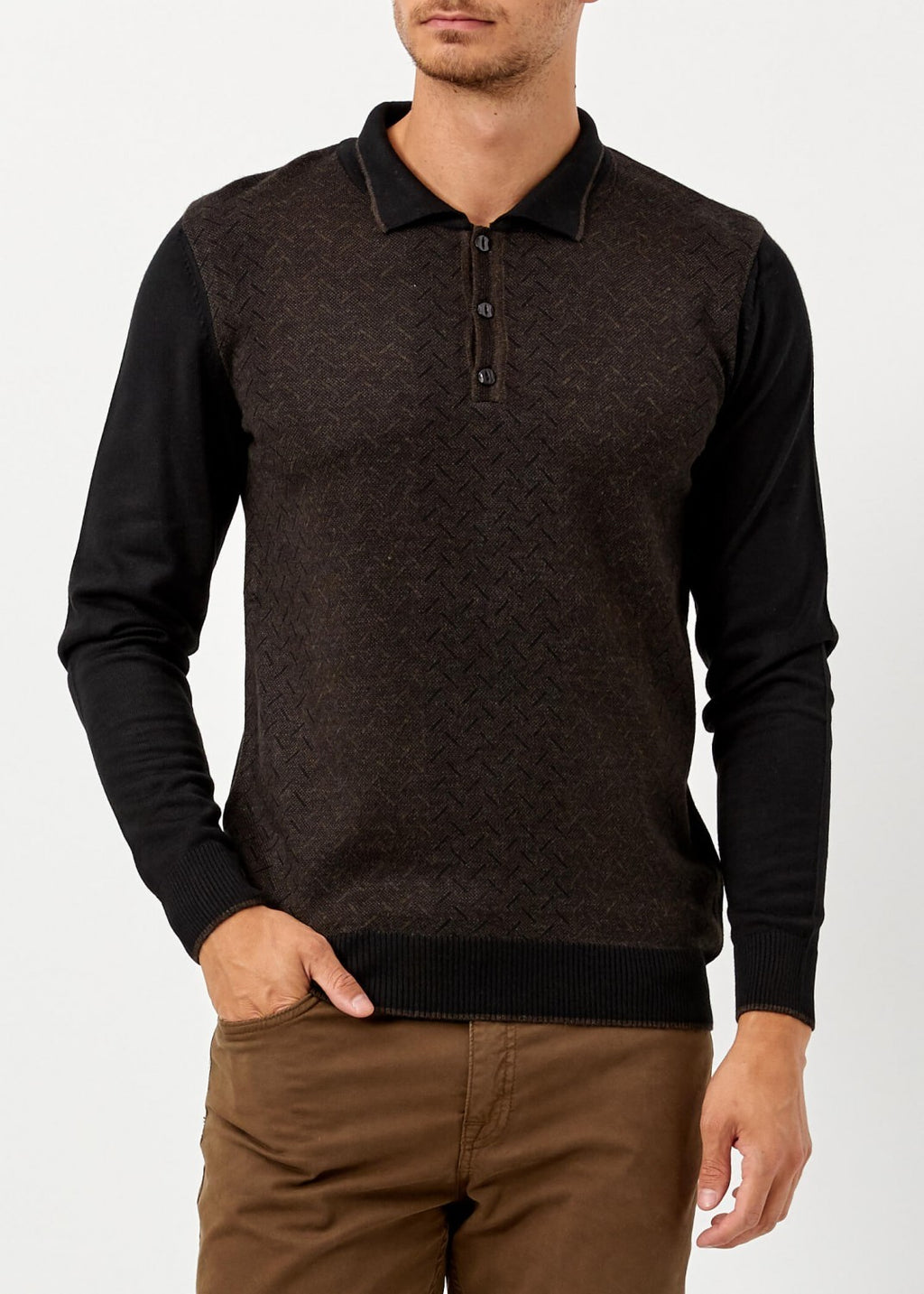 Men's Polo Neck Black Brown Wool Pullover
