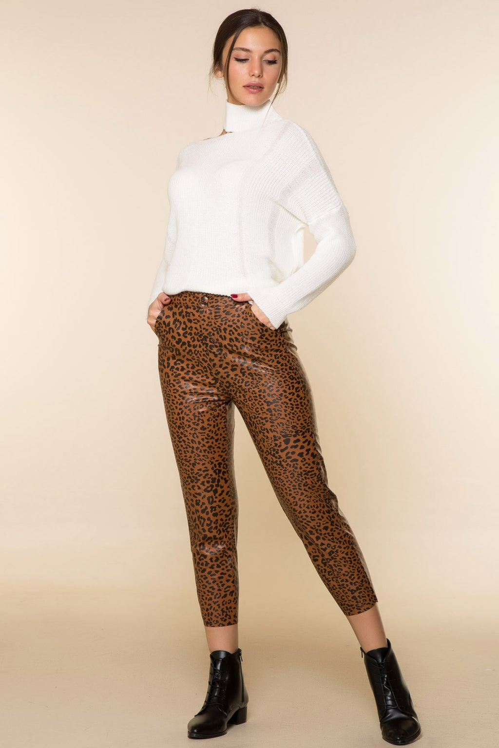 Leopard Patterned Leather Pants