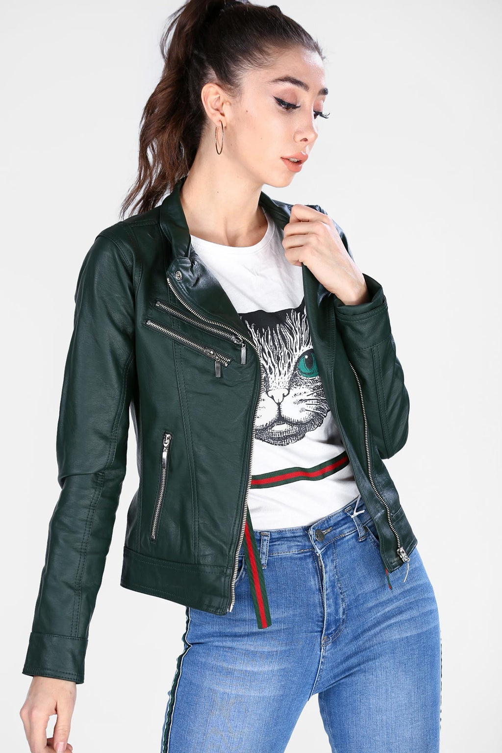 Copy of Women's Zipped Sides Leather Green Jacket (contest) - THE UNIQUE FIT