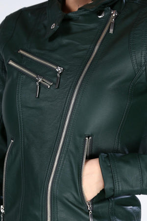 Women's Zipped Sides Leather Green Jacket (contest) - THE UNIQUE FIT
