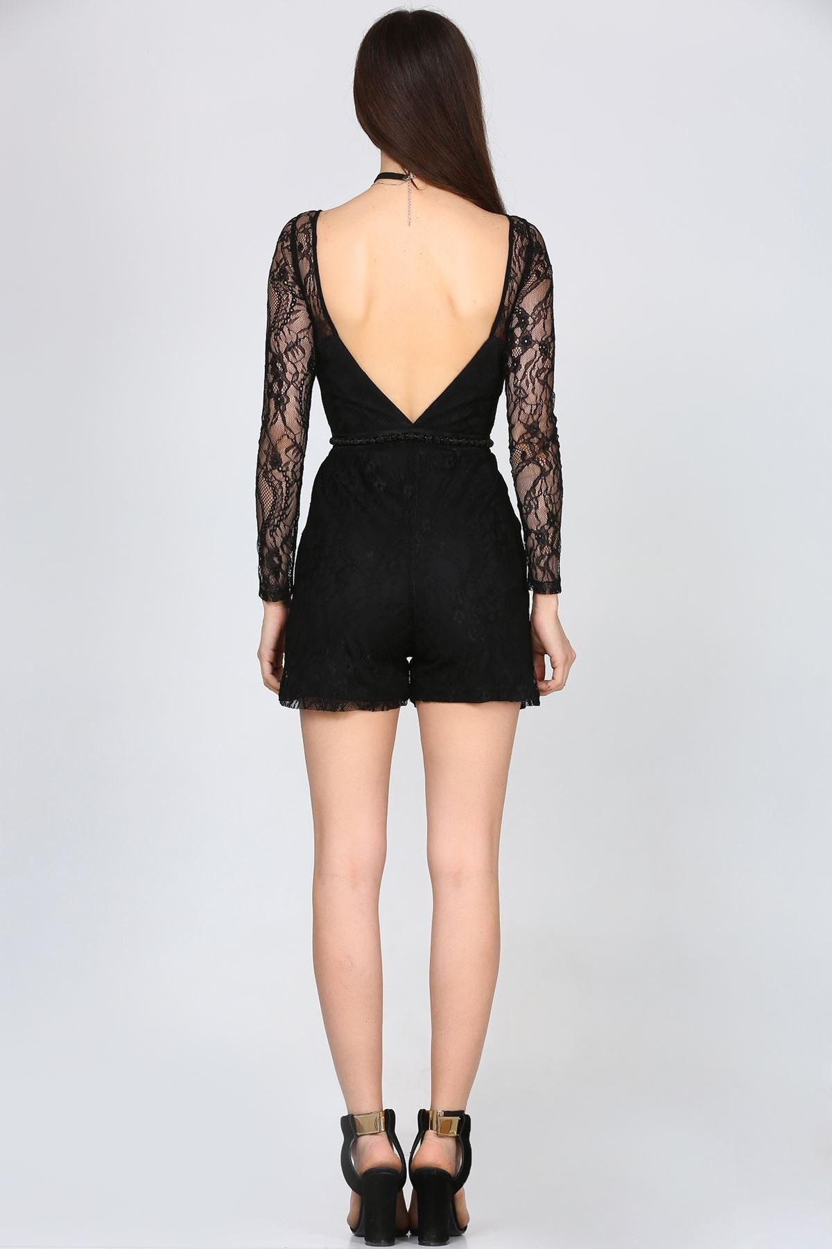 Back Decolletage Laced Black Overalls - THE UNIQUE FIT
