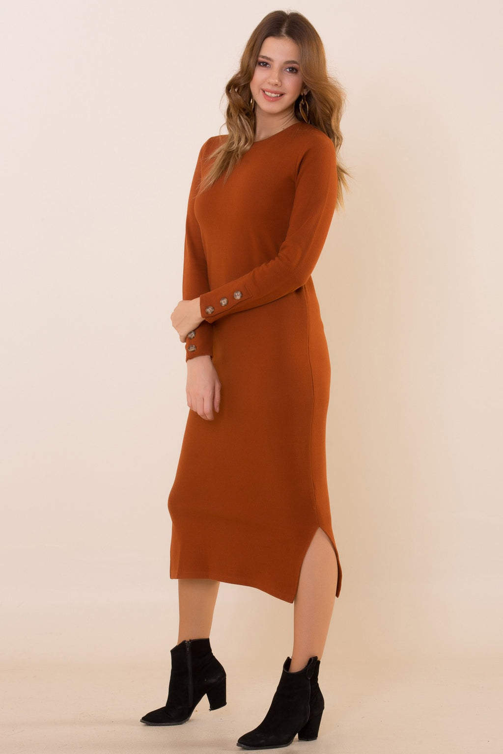 Women's Buttoned Sleeves Mustard Slit Dress (Contest) - THE UNIQUE FIT