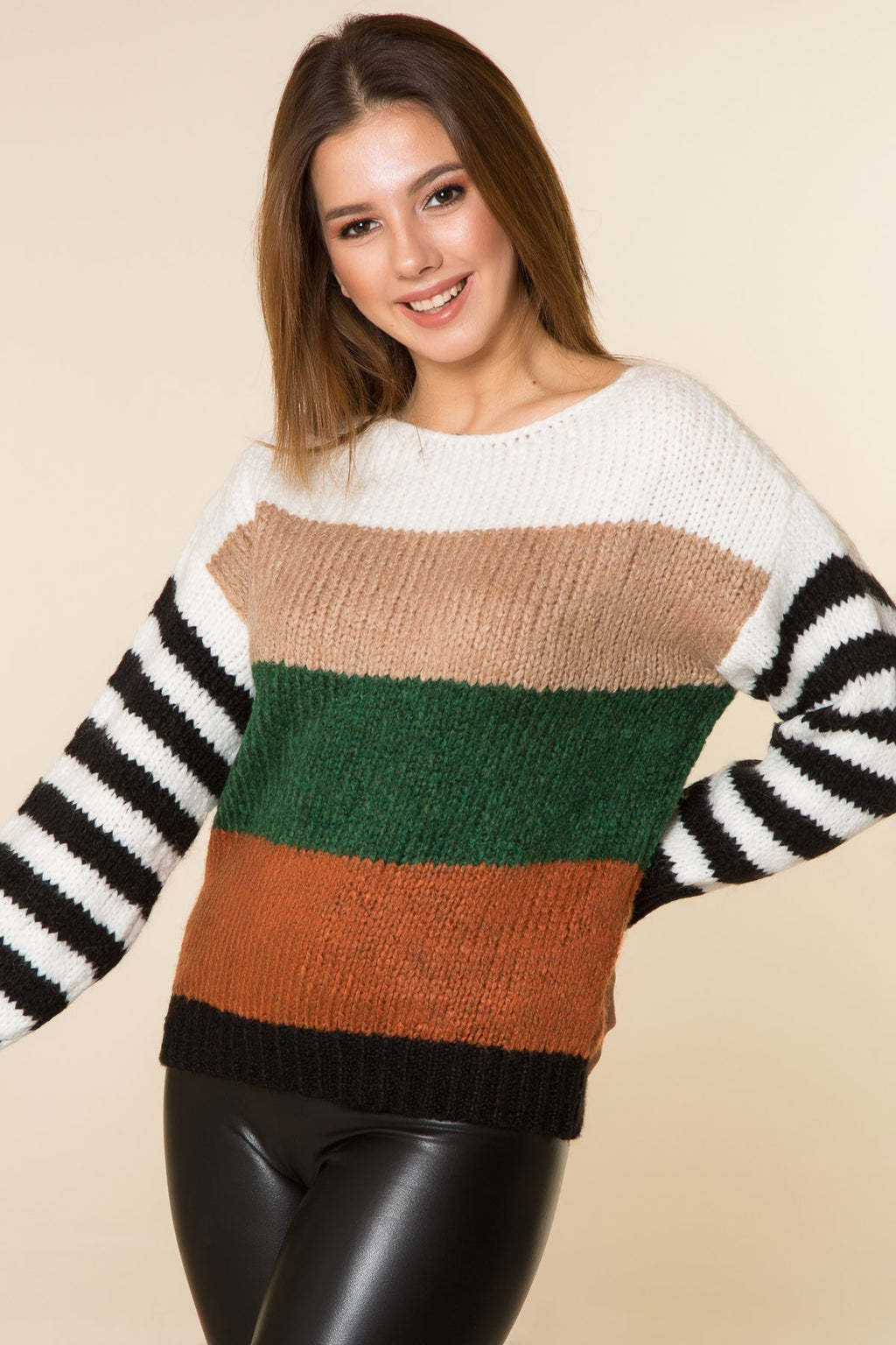 Color-block Multi Tricot Pullover - THE UNIQUE FIT