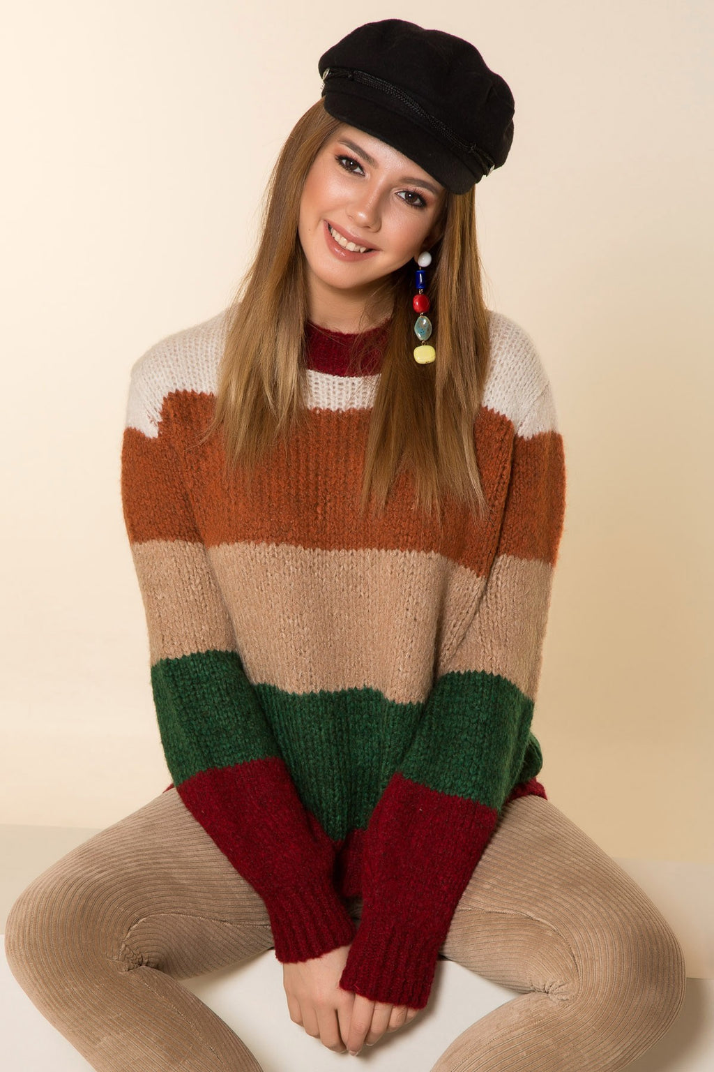 Crew Neck Multi Color Tricot Sweatshirt - THE UNIQUE FIT