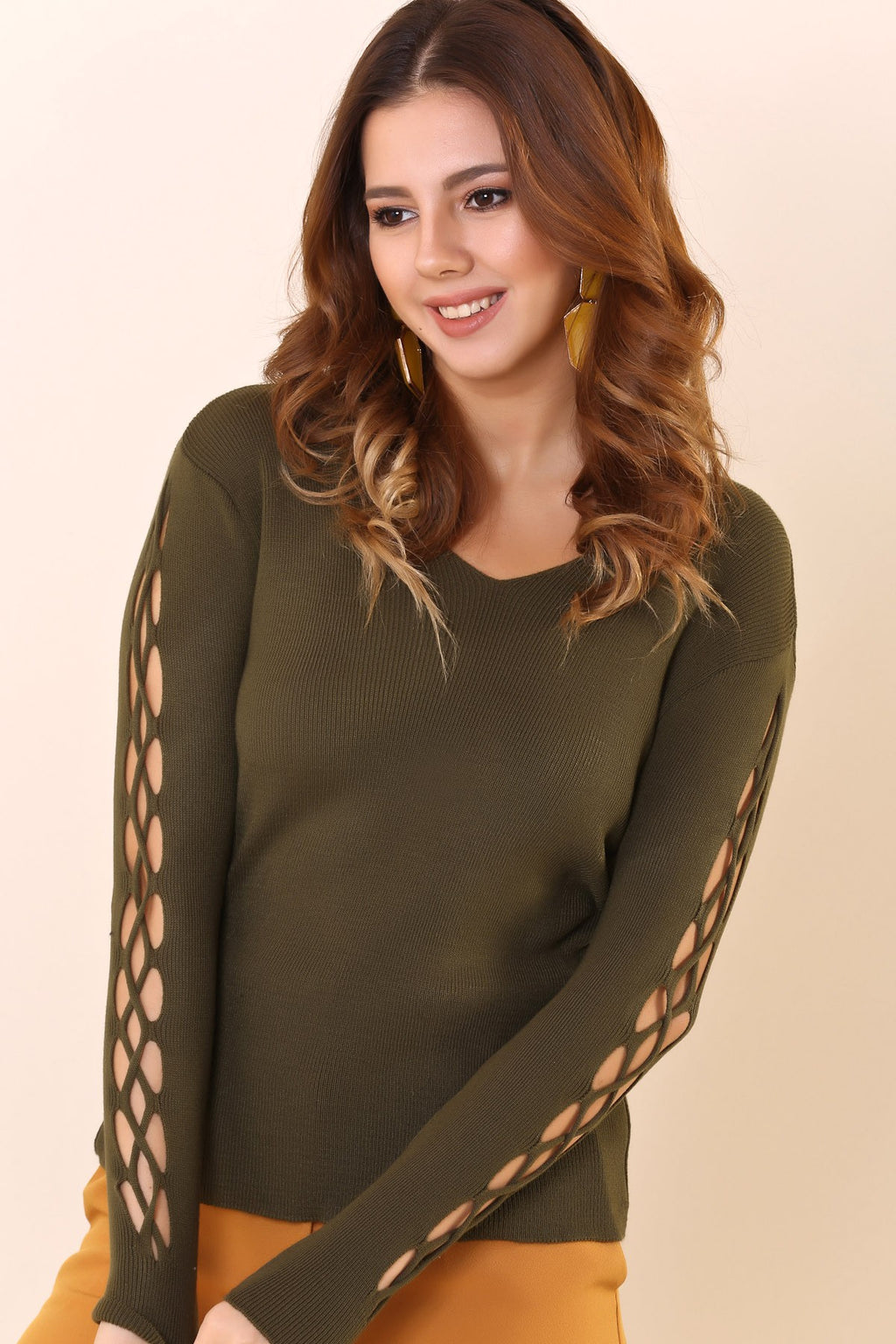 Detailed Ripped Sleeves Khaki Tricot Blouse - THE UNIQUE FIT