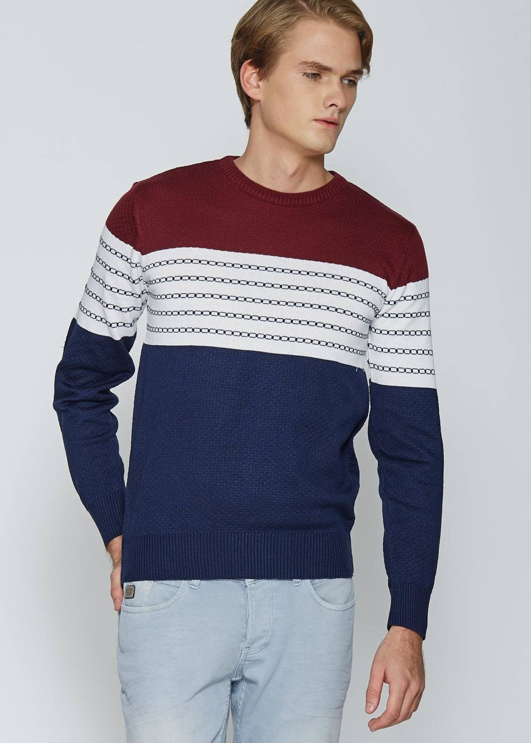 Men's Patterned  Red Pullover - THE UNIQUE FIT