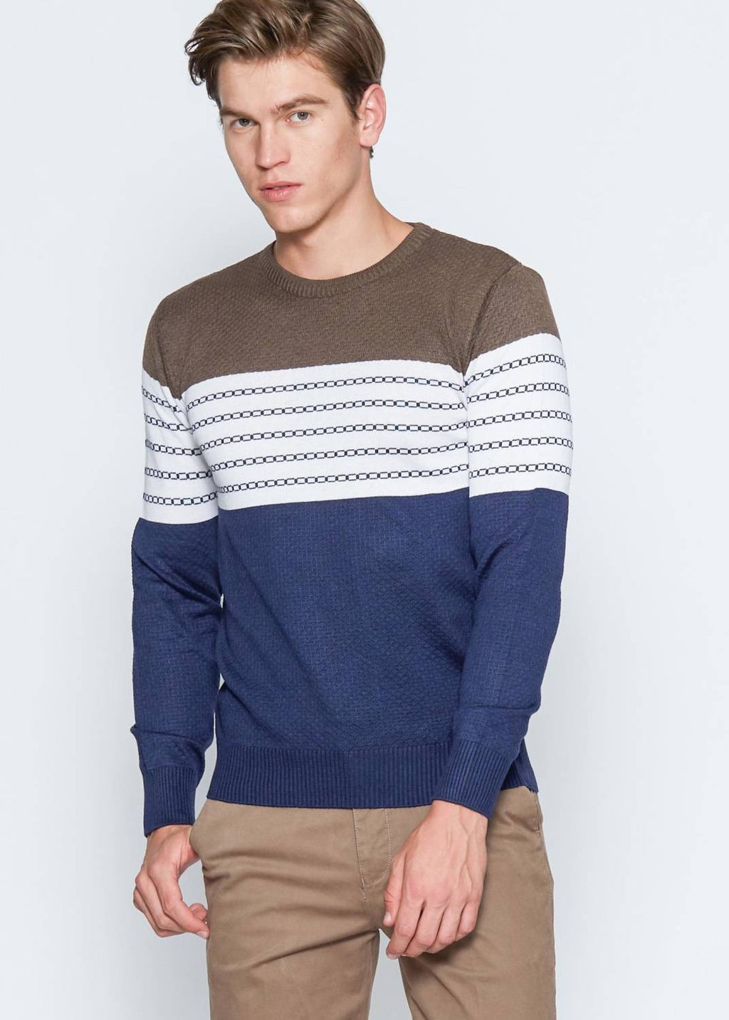 Men's Patterned Brown Tricot Pullover