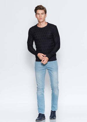 Men's Patterned Slim Fit Black Pullover - THE UNIQUE FIT