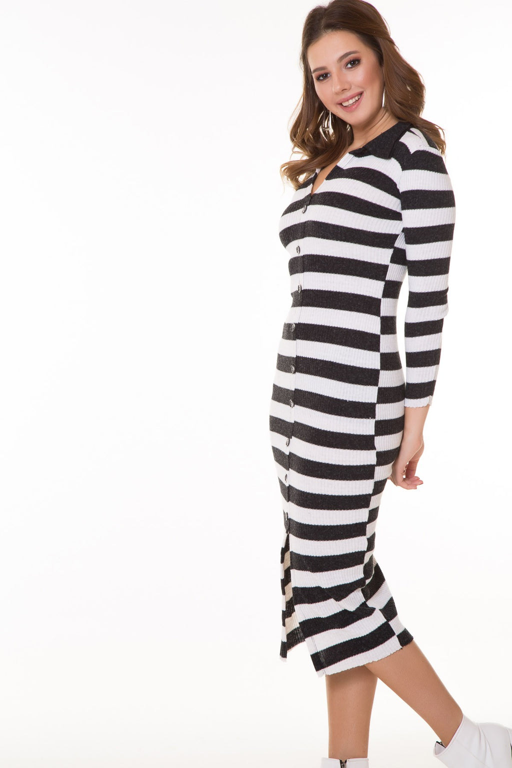 Button Detail Striped Dress - THE UNIQUE FIT