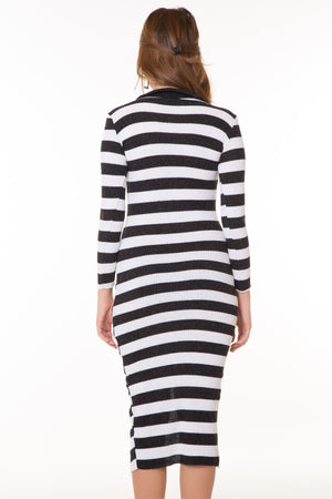 Button Detail Striped Dress (Contest) - THE UNIQUE FIT
