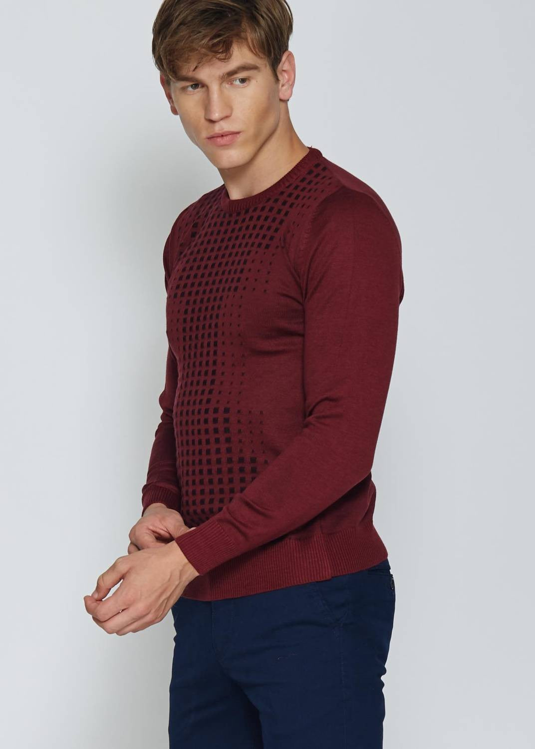 Men's Crew Neck Patterned  Red Black Pullover - THE UNIQUE FIT