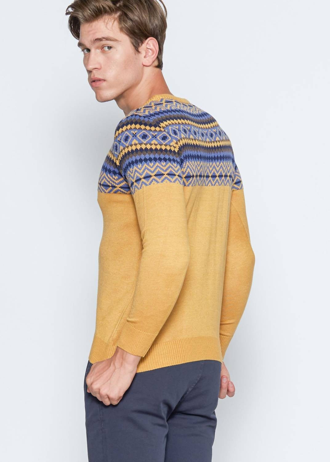 Men's Yellow Slim Fit Pullover - THE UNIQUE FIT