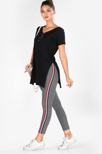 Women's Striped Sides Grey Tights