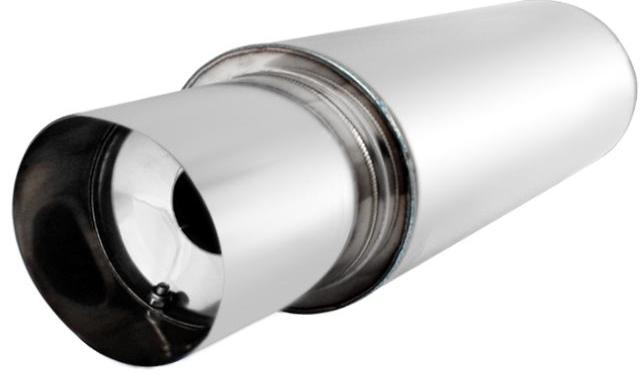 UNIVERSAL MUFFLER WITH EXHAUST ROUND 4 INCH TIP