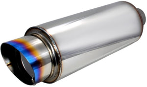 UNIVERSAL MUFFLER WITH EXHAUST ROUND FIREBALL-STYLE BURNT TIP
