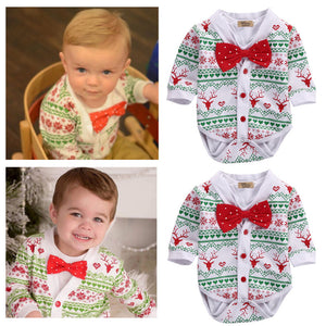 Baby Gear Christmas Newborn Baby Clothes 2 PCS Cotton Snowflake Body Suit Romper
