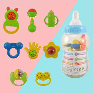 8 Pcs/1 Set Kids Educational Hand Shake Rattles Giant Baby Bottle Toys