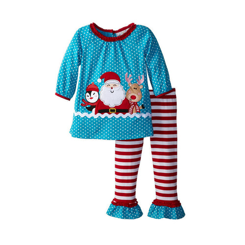 Baby Gear Boy Costume Santa Claus Pattern Clothes Long Sleeve T-Shirt Pants Christmas Pajamas Set