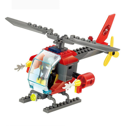 83pcs/set Fire Helicopter Educational Building Blocks Boy's Bricks Toys Children Assembling Airplanes Fireman Brinquedos Gift