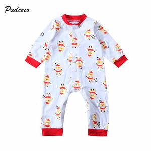 Baby Gear Christmas Newborn Unisex Santa Claus Print Long Sleeve Cotton Romper