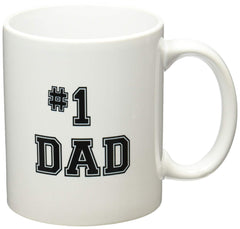 White mug with #1 DAD