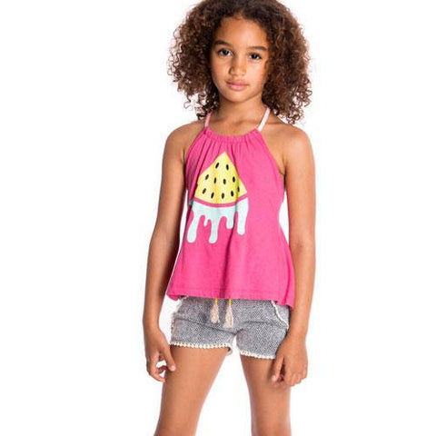Trendy Appaman Tao shorts and watermelon tank top on tween model.