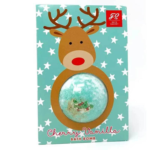 Blue bath bomb with glitter inside, in a reindeer package.