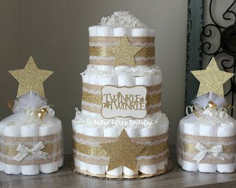 Diaper cake with gold decorations