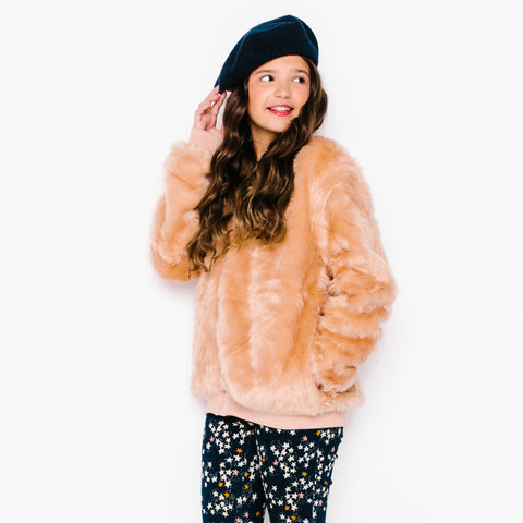 Rylee and Cru pink faux fur girls bomber jacket