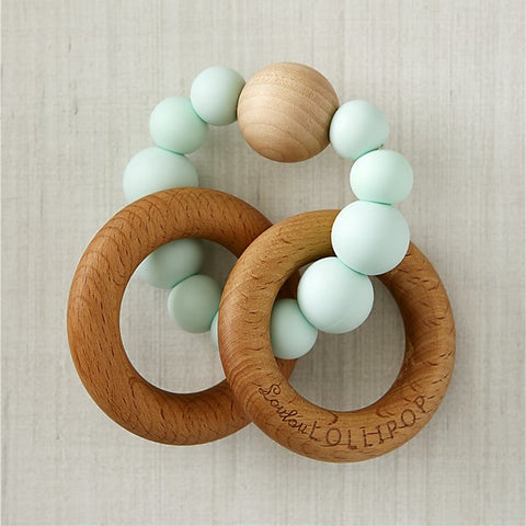 wooden bead and ring teether in mint