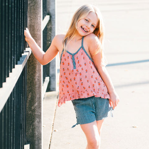 Tween girl tank top with A-line and pink pineapple print