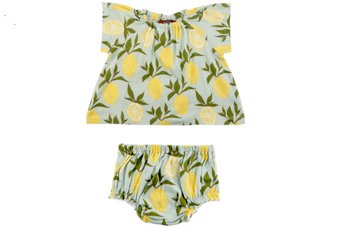 Lemon print baby dress and bloomers in blue with yellow lemons