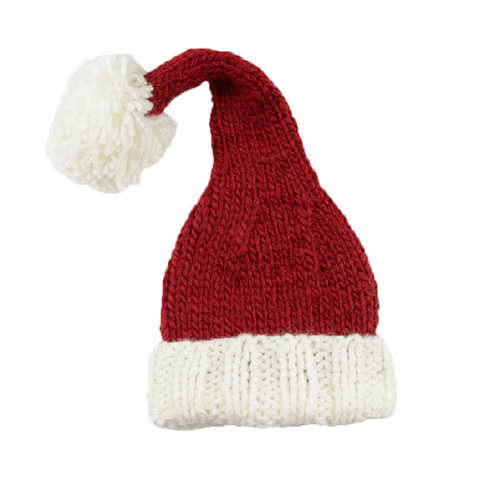 Red and white baby Santa hat with a white pom pom on top.